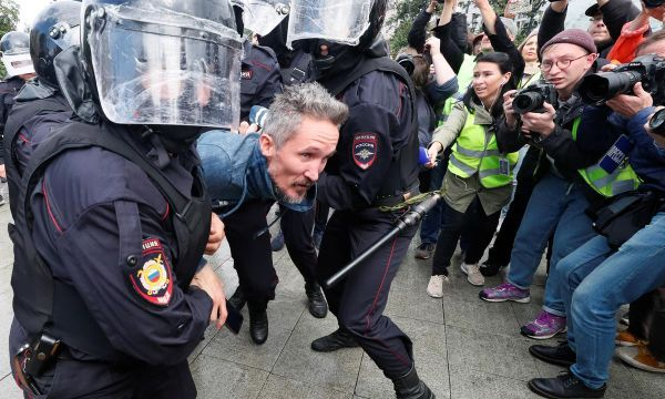 Russian police detain 89 protesters in central Moscow: monitor